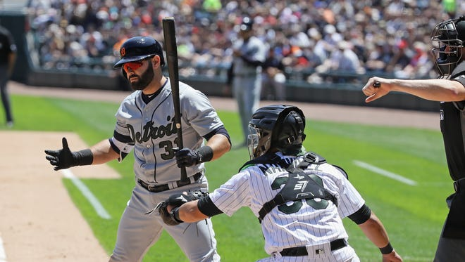 Alex Avila reacts after striking out looking in the second inning. The Tigers struck out a season-high 15 times in Saturday's Game 1 loss to the White Sox.