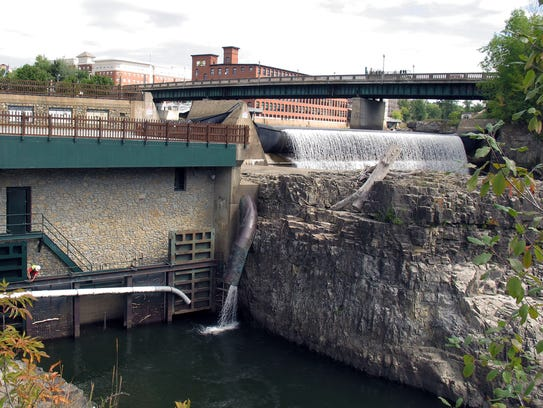 Water flows through the Winooski 1 hydro-electric plant