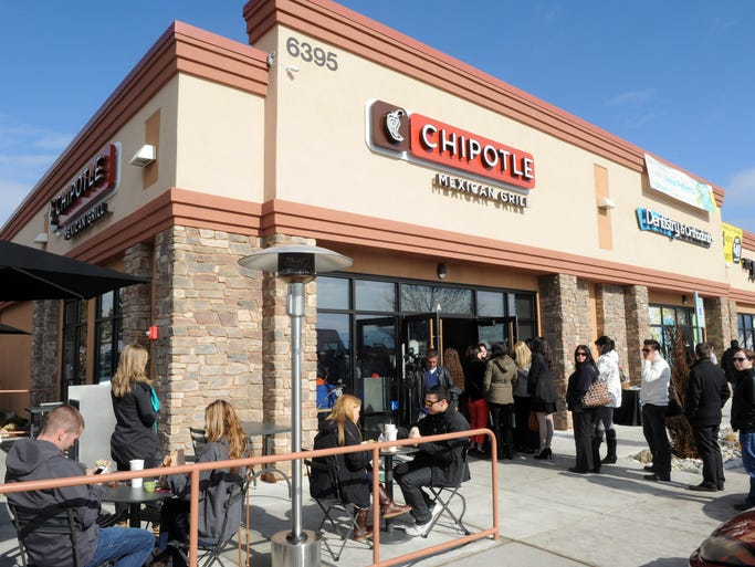 The line stretched out the door for customers wanting to try the food at the new Chipotle Mexican Grill at the northeast corner of Kietzke Lane and South McCarran Boulevard that opened Thursday for lunch.