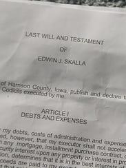 "Edwin ""Bud"" Skalla's will"