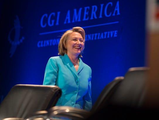 Hillary Clinton addresses the Clinton Global Initiative