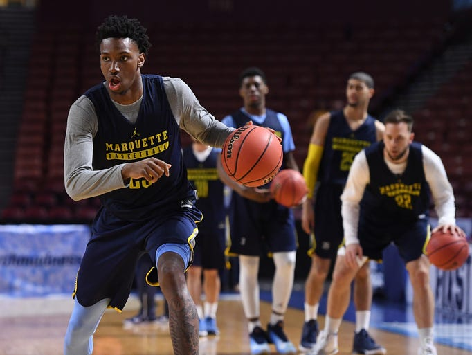 Marquette guard Jajuan Johnson (23) during practice