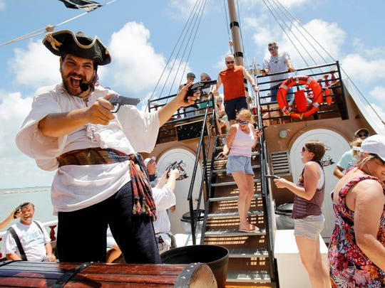 Red Dragon Pirate Ship Adventure Cruises will offer pirate-themed, interactive entertainment cruises in Corpus Christi at 12:30 p.m. and 5 p.m. Friday, May 5 at the Joe's Crab Shack on Lawrence Street T-Head in celebration Buc Days. Pirate shows, sword battles, cannon firings, pirate tales, face painting, dancing and more. Cost: $25 general admission; Free under 2 years old. Information: 361-749-2469.
