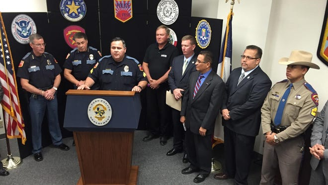 Officials from several law enforcement agencies Friday at El Paso Police Department headquarters announced the arrests of 10 workers from four area body shops on suspicion of insurance fraud.