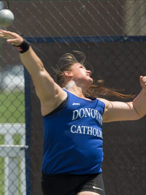 Donovan High School's Alyssa Wilson wins the Non Public A Shot Put at the State Groups 1, 4, and A Track & Field Championships at Egg Harbor, NJ on June 4, 2016.
