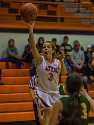 Aztec's Grace Olsen takes a shot during a game against Los Alamos during the Aztec Lady Tigers Rumble on Friday at Lillywhite Gym in Aztec.
