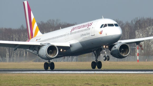 A Germanwings Airbus A320  lands at the airport in