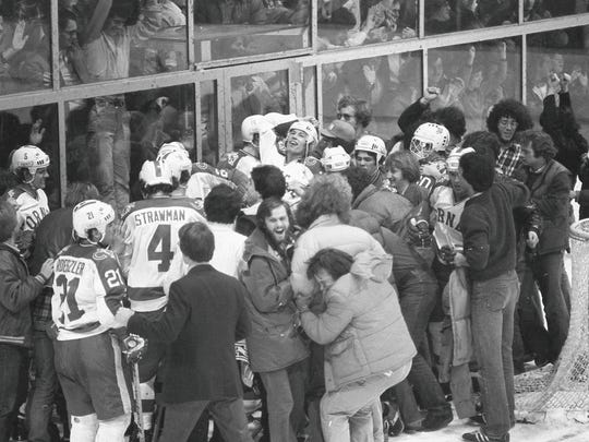 After the victory, the ecstatic Cornell fans swarmed