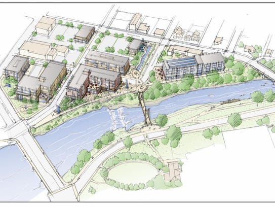 The city's Request for Qualifications for the White River Canal District proposal included this drawing.