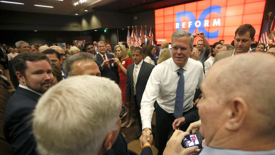 Former Gov. Jeb Bush greets supporters after speaking