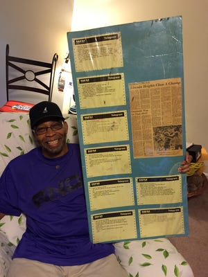 Greg Stemrick with a display of congratulatory telegrams and a newspaper clipping from Lincoln Heights championship spring of 1970.