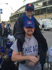 Christopher, 6, and Brian Hopkins, 47, of Aurora, Ill.