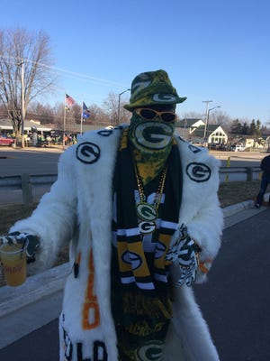 Green Bay Packers super fan Anthony Leonard before the Packers faced the Detriot Lions at Lambeau Field on Sunday.