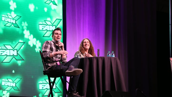 """Film critic Jimmy Martin, left, moderates audience questions for """"Weird Al"""" Yankovic at FanX 17."""