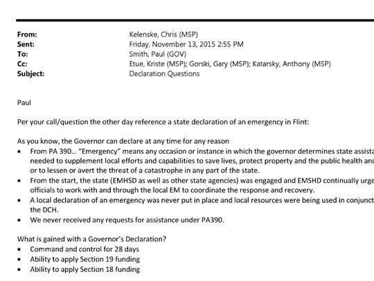 But in a Nov. 13 e-mail, Capt. Chris Kelenske of the