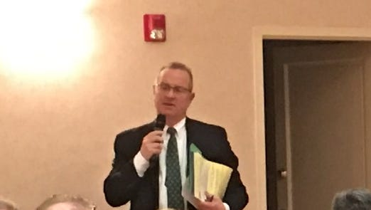 Attorney Kenneth Porro speaking to Woodcliff Lake residents in January about the BMW tax appeal settlement litigation.