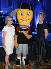 Co-chairs Madeline Redstone and Sue Timken with Beamer.