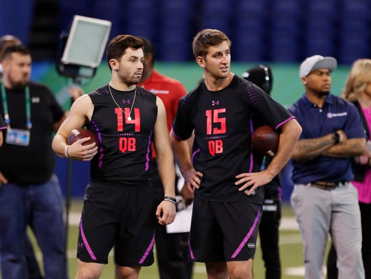 Baker Mayfield (14) and Josh Rosen (15) are both on