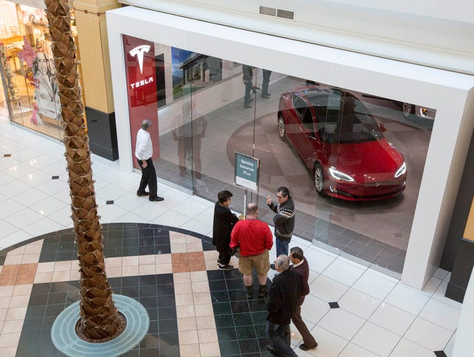 The new Tesla showroom at Somerset North in Troy is
