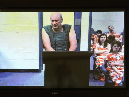 Curtis Reeves appears via video conference before Circuit Judge Lynn Tepper in Wesley Chapel, Fla. on Tuesday, Jan. 14, 2014.   Tepper ordered Reeves, 71, held without bond on a charge of second-degree murder in the death of 43-year-old Chad Oulson on Monday. An argument over texting in a movie theater ended with Reeves, a retired police captain fatally shooting Oulson, authorities said.  (AP Photo/The Tampa Bay Times, Brendan Fitterer)