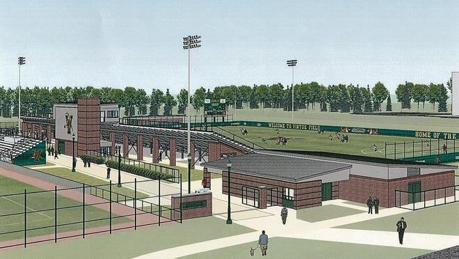 The planned 2,500-seat stadium facility at the University of Vermont's Virtue Field is seen from the north in this artist's rendering.