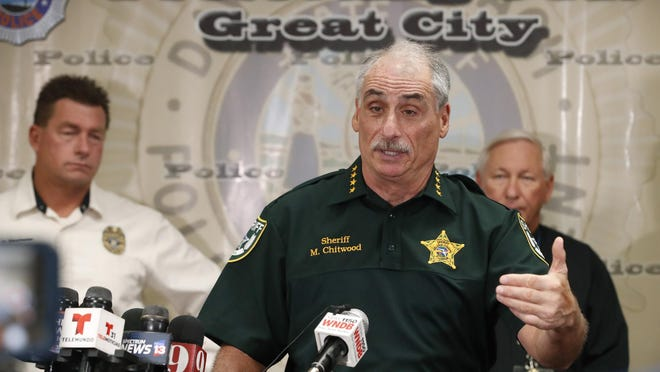 Volusia County Sheriff Mike Chitwood speaks during a news conference at Daytona Beach Police Department in Daytona Beach, Sunday, May 24, 2020.