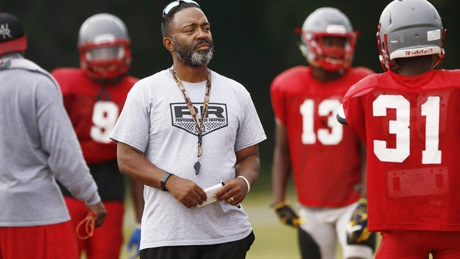 Walnut Ridge coach Byron Mattox, shown at a team practice in mid-August, said the abbreviated season will boost his senior players' chances of earning a college scholarship.