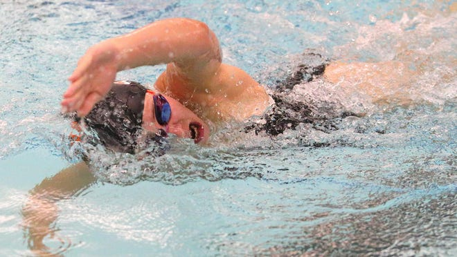 Tecumseh's Linda Hensley swims during the 200-yard freestyle event during Thursday's dual against Adrian.