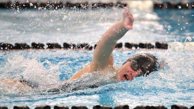 Tecumseh's Makayla Sanders swims in the 100-yard freestyle during a meet in the 2020 season.