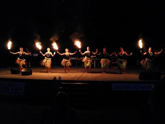A portion of the fire show at a Paradise of Samoa Luau.