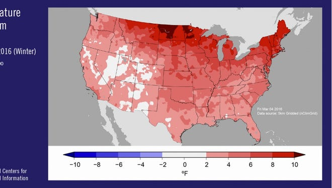 Mean temperature map of Lower 48 for Dec. 2015 to Feb. 2016.