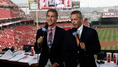 2010: Members of the Cincinnati Reds broadcast team for Fox Sports Ohio Chris Welsh, left and Thom Brennaman