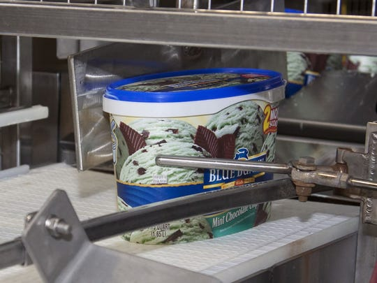 Blue Bunny ice cream rolling off the line.