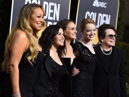 Mariah Carey, from left, America Ferrera, Natalie Portman,
