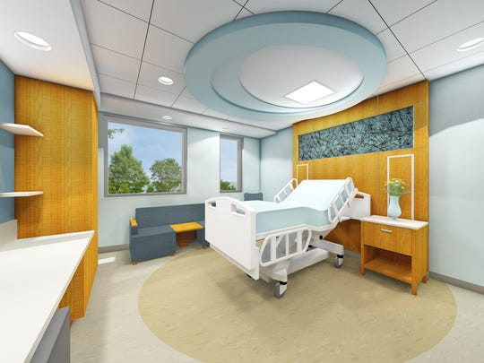 Rendering of a new private patient room at Christiana Care.