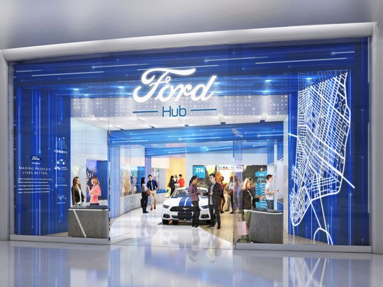 The new FordHub locations will not offer sales but