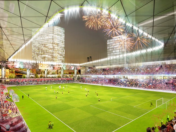 Renderings of possible MLS stadium in Detroit.