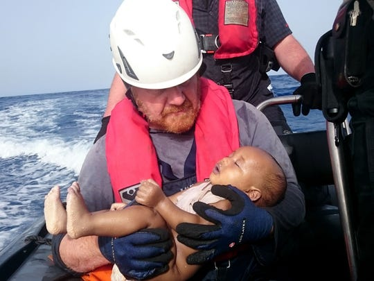 A photo released by the  German humanitarian group