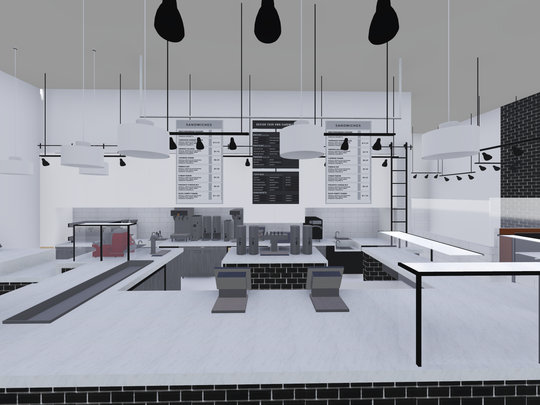 A rendering of the new store's  kitchen. The space will have a designated pastry area, and will have a window that will allow customers to see inside.