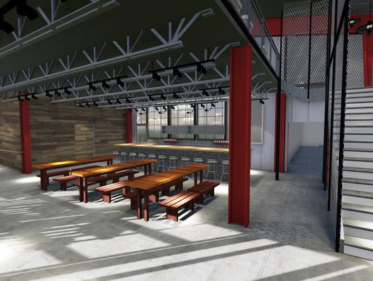 A rendering shows Fat Bottom Brewing's new taproom
