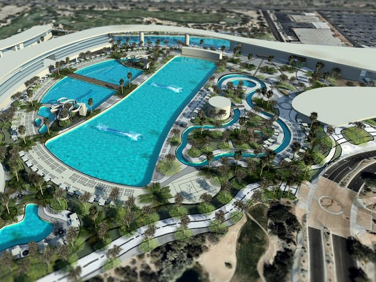 "A rendering for Matteson Capital's proposed ""surf and action sports resort"" in Palm Desert. Matteson is due to present updates about the project to City Council in April."