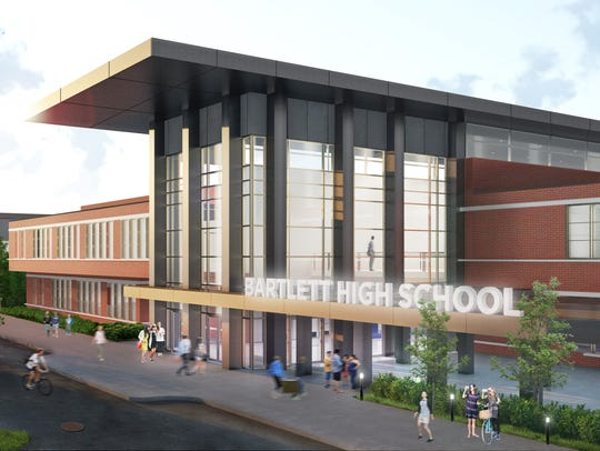 A rendering of the proposed Bartlett High School renovation.