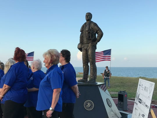 The South Texas Aviator Memorial Association gathered Thursday, Oct. 12, 2017, at Ropes Park to dedicate the memorial. The statue stands 7 feet tall and is crafted from bronze.
