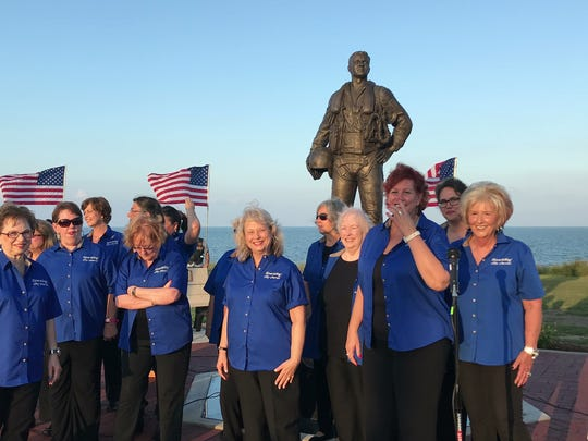The South Texas Aviator Memorial Association gathered Thursday, Oct. 12, 2017, at Ropes Park to dedicate the memorial. The statue is dedicated to fallen aviators and air crew.