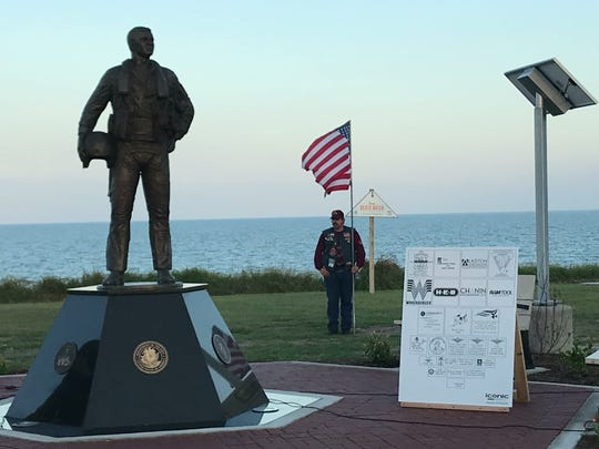 The South Texas Aviator Memorial Association gathered Thursday, Oct. 12, 2017, at Ropes Park to dedicate the memorial. The association also hopes to create a scholarship fund that would benefit children of fallen aviators.