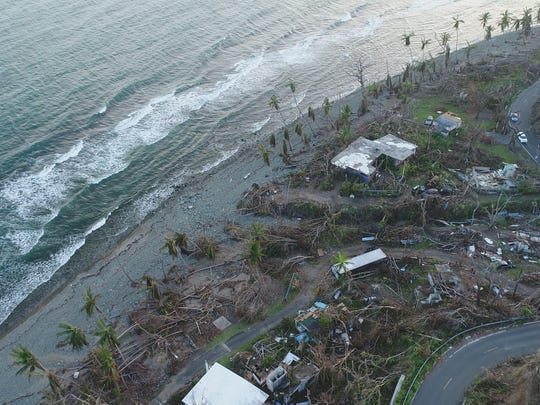Hurricane Maria  destroyed many houses in the seaside town of Maunabo in Puerto Rico, Oct. 2, 2017.