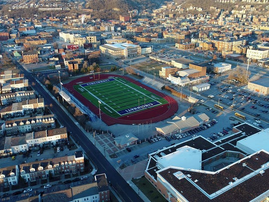 A view of Cincinnati Public School's Stargel Stadium at Taft High School in the West End neighborhood of Cincinnati on Tuesday, Jan. 30, 2018. Stargel Stadium is one of the locations being looked at for FC Cincinnati's potential stadium.