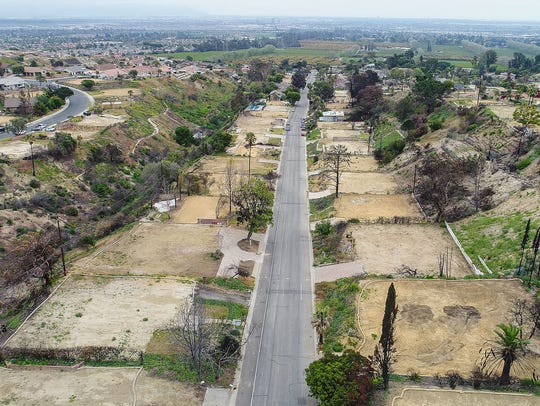 Empty lots where the Thomas Fire destroyed homes along