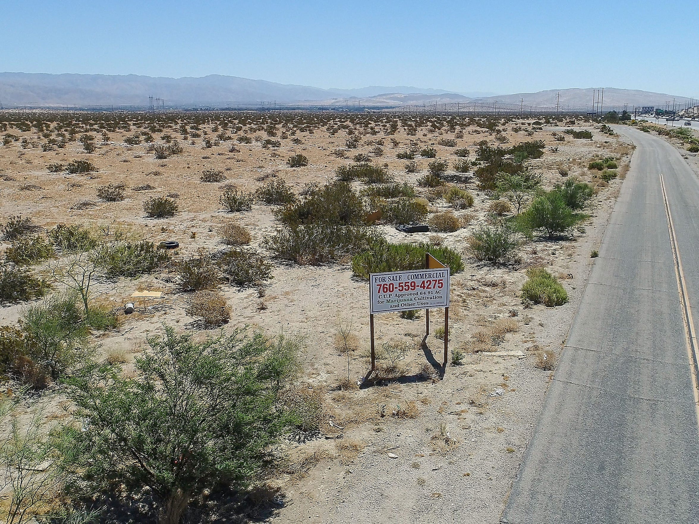 A marijuana grow facility was being considered for developement on this large chunk of land at Interstate 10 and Indian Canyon, June 22, 2018.