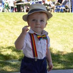 18-month-old Peyton Rowe wears rainbow suspenders and bow at the Northern Nevada Pride Festival on July 23, 2016.